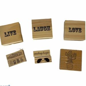 8 Rubber stamps Cactus Hedgehog. Live. Love. Laugh